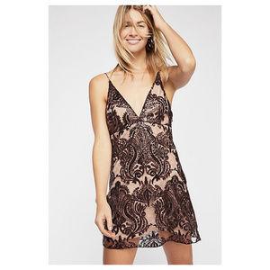 Free People Mahogany Night Shimmers Mini Dress